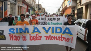 Protest march against dams in Amazon © REBECCA SOMMER