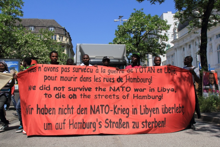 Libysche Flüchtlinge in Hamburg